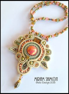 This necklace has a salmon colored ceramic cabochon center and is wrapped in cream, golden rose and mint green soutache. Embellished with superduo, crystals and pearls on a strung necklace and finished with a gold magnetic clasp. Measures about 20 inch. Soutache Pendant, Soutache Necklace, Dainty Necklace, Silver Necklaces, Gold Initial Pendant, Initial Pendant Necklace, Great Gifts For Mom, Beaded Embroidery, Fine Jewelry