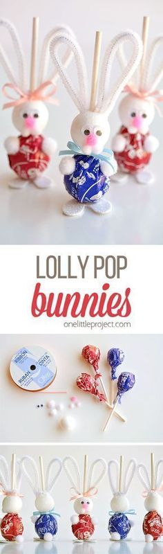 These lolly pop bunnies are SO CUTE and they're really simple to make! They're adorable treats for an Easter basket, or even for the Easter table! Such a fun spring craft idea! #EverydayArtsandCrafts