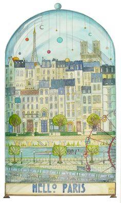 Hello Paris. Aquarelle originale. De l'encre de chine par RoseDraft