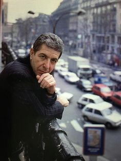Leonard on the balcony of his hotel--Paris 1988