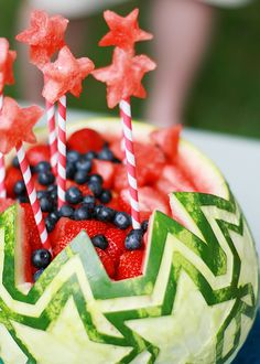 Carved Watermelon Fruit Salad