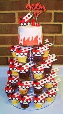 firetruck cupcake tower  First birthday?