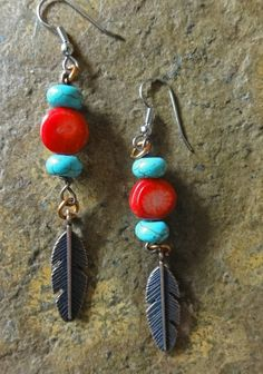 Feather Earrings of Copper with Turquoise by GemstoneJewelrybyVal, $16.00