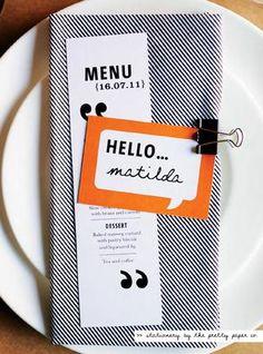 menu and place card (ok so this one isn't an actual invitation. Wedding Menu, Wedding Book, Wedding Stationary, Wedding Ideas, Wedding Programs, Fall Wedding, Diy Wedding, Wedding Reception, Wedding Card Messages