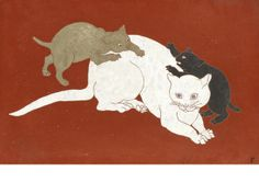 LEONARD TSUGUHARU FOUJITA Three cats on a red lacquer ground
