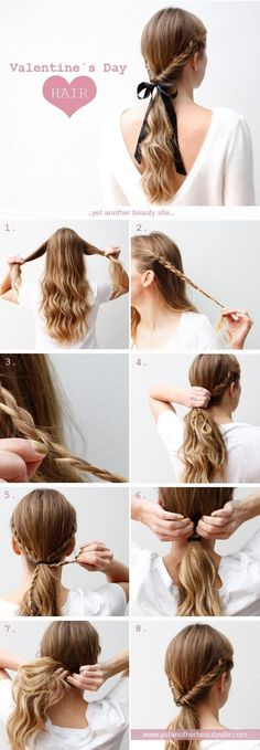 11. Easy Valentine's Hair - 33 #Romantic Hairdos to Wow Your Date on Valentine's Day and #beyond ... → Hair #Braided