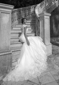 MONIQUE, deep V-cleavage mermaid wedding dress with back lace peplum, stunning cleavage and long train.