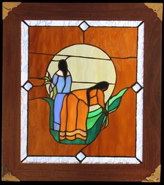 Stained Glass Mother And Daughter Picking Sweetgrass By Leroy Riley #Kitigan #Art #Aboriginal