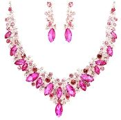 Hot Pink Formal Prom Bridal Necklace Set Elegant Wedding Jewelry