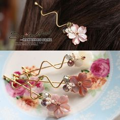 South Korean imports of hair ornaments exquisite shell jewelry chic flowers side clip hairpin hairpin curve - Taobao