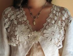 Irish Crochet Lace Bolero with Rose Damask Natural Linen OOAK by MaryPearlsVintage
