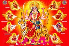 Nine days of Navratri. Sharad Navratri and Chaitra Navratri. Nine forms of Maa durga and legends associated with Navratri Shailputri,Brahmacharini,Kushmanda Durga Picture, Maa Durga Photo, Durga Kali, Durga Puja, Durga Goddess, Lord Durga, Saraswati Devi, Vaishno Devi, Divine Goddess