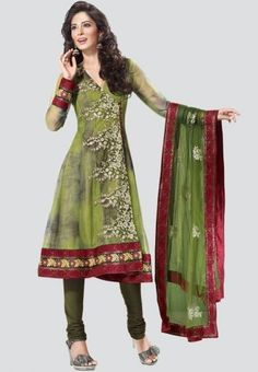 Embroidered Green dress material