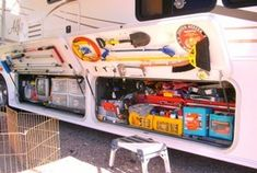 Excellent RV storage ideas. Check out the door storage on these bays! :)