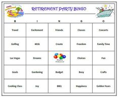 Retirement Party Bingo Game 60 Cards  by BuyMeSomeHappiness