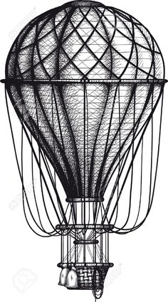 Vector - vintage Air Balloon drawn as engraving isolated on white background