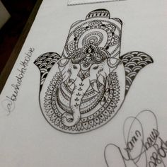 #Hamsa #Estilizada #Criação #Elefante #Indiano #Adornos