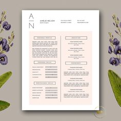 Career Resume Template | Professional Resume + Cover Letter for MS Word and Pages | Modern and Clean Resume Design | Blush Pink | Instant Download