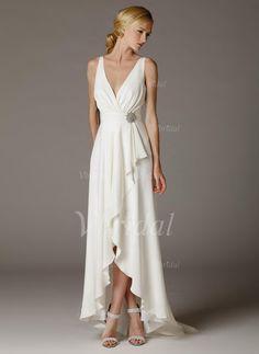 Robes de mariée - $153.23 - Forme Princesse Col V Asymétrique Mousseline de soie Robe de mariée avec Broche en cristal (0025100690)