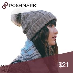 -NEW ARRIVAL-🎉 Mocha Pom Pom Beanie Soft knit beanie in a soft mocha color. The fuzzy pompom on top is on-trend and will have you feeling the winter vibes! West Market SF Accessories Hats