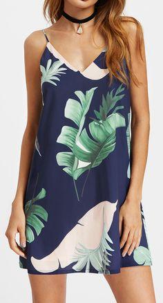 Palm Leaf Print Double V Neck Cami Dress