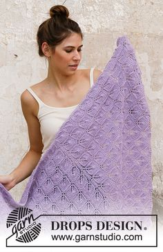 Knitted shawl in DROPS Alpaca. Piece is knitted top down with lace pattern and garter stitch. Shawl Patterns, Lace Patterns, Knitting Patterns Free, Free Knitting, Free Pattern, Drops Design, Knitted Shawls, Crochet Shawl, Lilac Bouquet