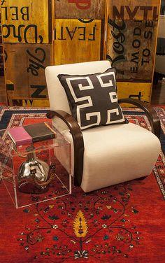 Highlands NC Furniture, Kravet Chair, Ryan Studios Pillow, Antique Paneled Screen, Gabbeh Rug, Lucas Patton Design, Interior Design Highlands NC, Highlands NC Interior Design, Kravet, Ryan Studio, Gabbeh, Highlands NC Furniture