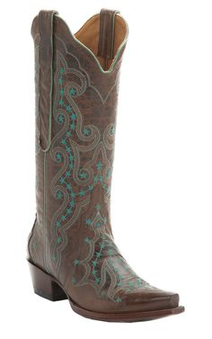Old Gringo® Celeste™ Women's Rust with Turquoise Embroidery Snip Toe Cowboy Boots