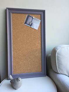 Large cork pin board. Cork bulletin board. Cork memo board. Cork message board. Purple pin board. Framed cork board. Framed notice board.