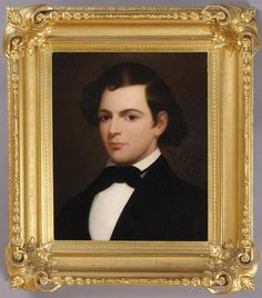 AMERICAN SCHOOL: PORTRAIT OF A YOUNG MAN -  Oil on canvas, mounted on masonite, unsigned. 21 x 17 1/4 in. (sight), 31 1/2 x 28 in. (frame).