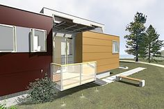 Ok- it's not really camping- but it is a prefab mini house trailer- so it sort of counts- Wonderful! miniHome: The Green Prefab Modern Trailer : TreeHugger Timber House, Modular Design, Mobile Home, Prefab, Sustainable Living, Home Remodeling, Sustainability, Outdoor Decor, Green