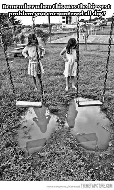Once I fell off the swing and landed in the puddle. ●﹏●