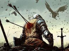 Medieval Knights Wallpaper   death battle knights fantasy art warband medieval arrows ravens lost ...