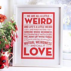 Weird Love - Dr Seuss Wedding Print, by Chatty Nora on Folksy, £17.00