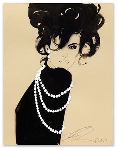 David Downton Angelina Chocolates for Joyce 2011 Ink and water colour on coloured paper 36 x 25 cm FIG Ref: 01916 SOLD