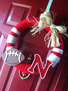 Huskers Wreath on Etsy, $25.00 but another university perhaps.