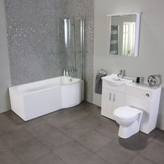 Featuring an elegantly designed space-saving shower bath with inclusive shower screen and complementing ceramic basin basin unit and WC unit. The WC unit also comes with a choice of different toilet pans to cater to your style tastes exactly.