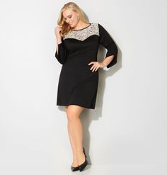*3/4 BLK SLD PONT LCE NCKCrochet Neck Ponte Dress,