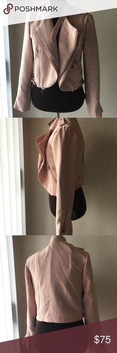 AMAZING Pink Zipper Moto Jacket 8 Super unique, zipper-trimmed jacket (or layering piece). Nice heavy drape, but not too warm to use as a blazer. Very comfortable with an easy fit. Fully lined and worn only twice so far. Cuffs have a little shop wear. Price is firm, at the moment, as I'm not sure I even want to sell it off lol. Philosophy Jackets & Coats Blazers