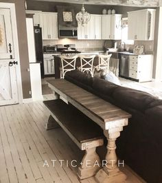 custom sofa table with custom bench. Great for extra seating in small spaces Sofa Table Decor, Couch Table, Sofa Tables, Long Sofa Table, Bedside Tables, Console Tables, Dining Tables, Dining Set, Outdoor Dining