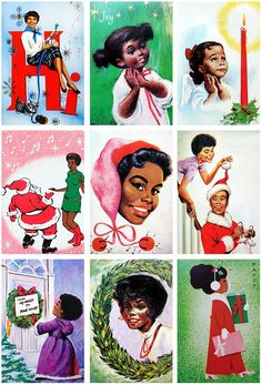 vintage holiday cheer Christmas cards African American culture