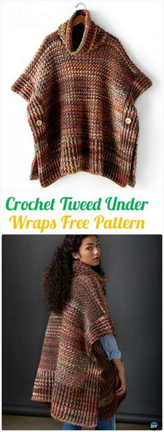Crochet Tweed Under Wraps Free Pattern - Crochet Women Pullover Sweater Free Patterns Poncho-Pullover Crochet Women Pullover Sweater Free Patterns [Tops & Tunics] Crochet Pullover Pattern, Crochet Shirt, Crochet Jacket, Crochet Cardigan, Crochet Scarves, Crochet Clothes, Crochet Hats, Free Crochet, Crochet Sweaters
