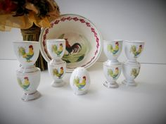Vintage French Rooster Egg Cups (8 Pieces) & Salt Shaker by pentyofamelie on Gourmly