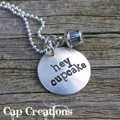 Cupcake Jewelry for Women | cap145 hey cupcake hand stamped necklace do you fancy a cupcake then ...