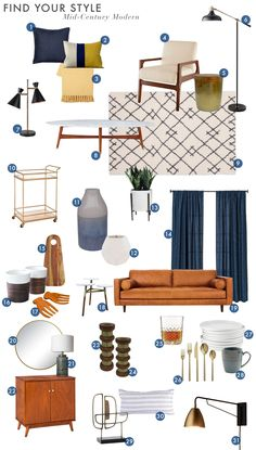 Find Your Style: Mid-Century Modern - Emily Henderson - Emily Henderson_Find Your Style_Style Quiz_Vignettes_Modern_Pattern_Roundup_Midcentury - Mid Century Modern Living Room, Mid Century Modern Decor, Small Living Rooms, Living Room Modern, Living Room Designs, Living Room Decor, Mid Century Modern Curtains, Midcentury Curtains, Style At Home