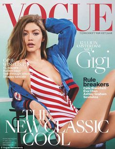Go figure: Half-Dutch model Gigi Hadid appears on the cover of Vogue Netherlands in a swimsuit and indulged in poffertjes, a Dutch treat comparable to pancakes