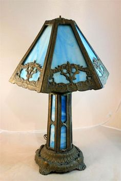 Early PEH Leaded Slag Glass Table Lamp Blue