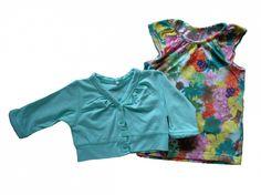 Maat 86 Set T-shirt met kleurrijke bloemen print en bolero Mint  Merk Name it