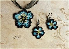 Forget me nots jewelry set #peyote #set #jewelry #jewellery #unique #handmade #beadedpendant #beadedearrings #beadedjewelry #beadedjewellery #handmadejewelry #handmadejewellery #forgetmenot Seed Bead Earrings, Heart Earrings, Flower Earrings, Beaded Earrings, Crochet Earrings, Beaded Jewelry, Handmade Jewelry, Bead Loom Patterns, Beading Patterns