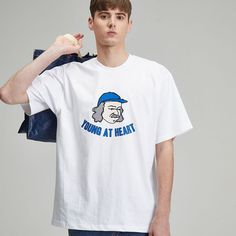 #그래픽 #반팔 #티셔츠 #라디네오 #여름 #디자인 #블루 #하트 #화이트 Young At Heart, White T, Mens Tops, T Shirt, Fashion, Supreme T Shirt, Moda, Tee Shirt, Fashion Styles